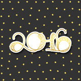 Card 2016 years in gold with shadow over gray background. 2016 card in gold with shadow. Gold template over a gray background with golden sparks. Happy new year Royalty Free Stock Image