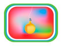 Card yellow light bulb, tv display Royalty Free Stock Photos