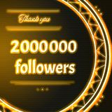 Card with yellow neon text Thank you two millions 2000000 follow. Card with yellow neon text.  Thank You message to two  millions 2000 followers. Words in arc Stock Photo