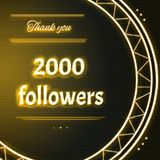 Card with yellow neon text Thank you two thousand 2000 followers Royalty Free Stock Photos