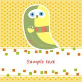 Card with yellow owl Stock Image