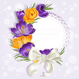 Card with yellow and purple crocuses and white bow Stock Images