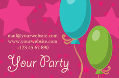 Card your party with gifts, balloons, ice cream and hat for design. Vector. Card your party with gifts, balloons, ice cream and hat for your design. Vector Stock Images
