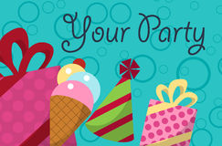 Card your party with gifts, balloons, ice cream and hat for design. Vector. Card your party with gifts, balloons, ice cream and hat for your design. Vector Royalty Free Stock Image
