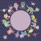 Card for your text in circle. Funny cute dinosaur monsters on dark dot background. Vector Stock Photo
