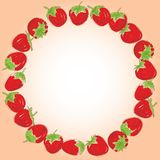Card for your text Set red strawberries on a white background. Hand drawn sketch.  Stock Photos