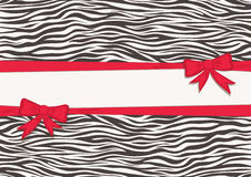 Card with zebra texture and red ribbons Royalty Free Stock Photo