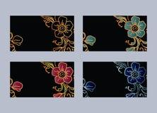Carda i fiori di notte sul campo nero illustrazione di stock