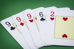 Carda o inglês da plataforma do pôquer, la Tercia da chamada da mão de pôquer Imagens de Stock Royalty Free