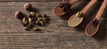 Cardamom, cloves, nutmeg, star anise, allspice. Different types stock photography
