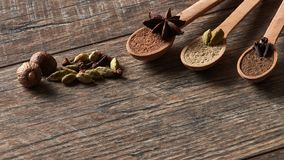 Cardamom, cloves, nutmeg, star anise, allspice. Different types stock photos