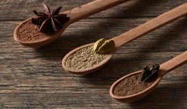 Cardamom, cloves, star anise. Ground spices in wooden spoons.Different types of whole Indian spices in wooden background royalty free stock images