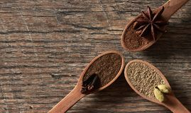 Cardamom, cloves, star anise. Ground spices in wooden spoons.Different types of whole Indian spices in wooden background stock image