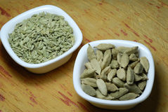 Cardamom and Fennel Seeds Royalty Free Stock Photography