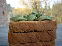 Cardamom on rusks. Lots of cardamom on rusks stock images