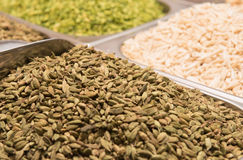 Cardamom   for sale in the spice souk at Deira. UAE Dubai. Royalty Free Stock Images