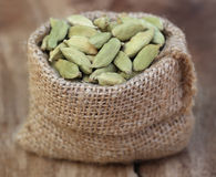 Cardamom seed in sack Royalty Free Stock Photography