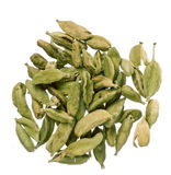 Cardamom seeds. Seeds of dried cardamom isolated on white stock images