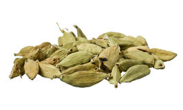 Cardamom seeds. Dried cardamom seeds isolated on white royalty free stock image