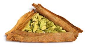 Cardamom seeds with cinnamon Stock Photo