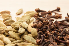 Cardamom seeds and cloves Royalty Free Stock Images
