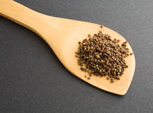 Cardamom seeds on wood spoon Stock Photos