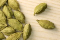 Cardamom. Spicy cardamom seeds close-up. Macro Royalty Free Stock Images