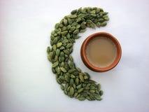 Cardamom and tea. Pinture of cardamom and tea Stock Image