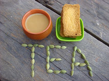 Cardamom tea and rusk. Picture of cardamom tea and rusks Royalty Free Stock Photos