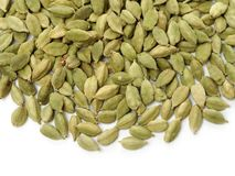 Cardamom is used as a herb,spice and flavoring agent. its maximum cultivation is seen in india. Isolated on White Background royalty free stock photos