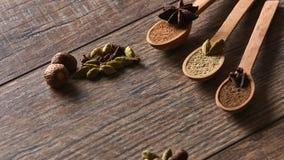 Cardamome, clous de girofle, noix de muscade, anis d'étoile, poivre de Jamaïque Différents types photographie stock libre de droits