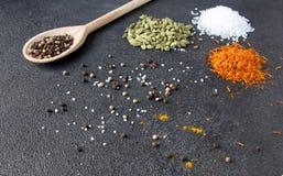 Cardamomo, açafrão, caril, pimenta, sal em um backgrou de pedra preto Imagens de Stock Royalty Free