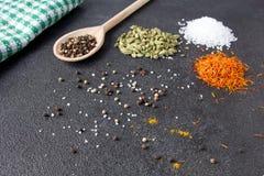 Cardamomo, açafrão, caril, pimenta, sal em um backgrou de pedra preto Fotos de Stock