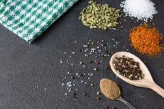 Cardamomo, açafrão, coentro, pimenta, alho, sal na parte traseira do preto Imagem de Stock Royalty Free