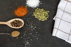 Cardamomo, açafrão, coentro, pimenta, alho, sal no CCB preto Fotografia de Stock