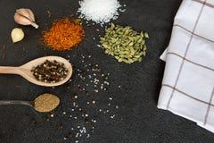 Cardamomo, açafrão, coentro, pimenta, alho, sal no CCB preto Foto de Stock