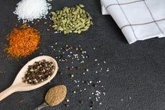 Cardamomo, açafrão, coentro, pimenta, alho, sal no CCB preto Imagem de Stock Royalty Free