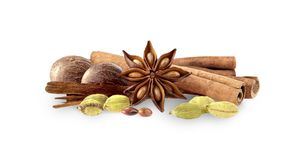 Cardamon, cinnamon, anise and nutmeg on white background. Spices isolated. Closeup stock images