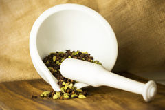 Cardamon and Cloves Mortar Pestle Stock Photos