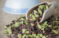Cardamon and Cloves in a scoop Stock Photography