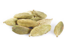 Cardamon pods on white Stock Images