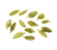 Cardamon spice. Bunch of seeds isolated on white Stock Photo