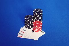 Cardand poker chips Stock Photo