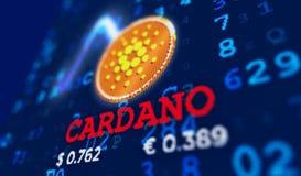 Cardano货币硬币和名字 库存例证
