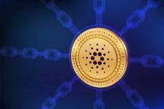 Cardano 隐藏货币 块式链 与wireframe链子的3D等量物理Cardano硬币 Blockchain概念 编辑可能的土窖 图库摄影