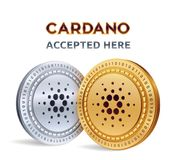 Cardano. Accepted sign emblem. Crypto currency. Golden and silver coins with Cardano symbol  on white background. 3D isome. Tric Physical coins with text Royalty Free Stock Images