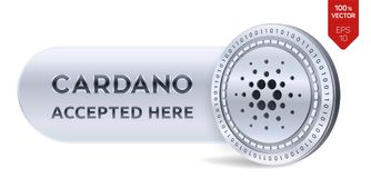 Cardano accepted sign emblem. 3D isometric Physical coin with frame and text Accepted Here. Cryptocurrency. Silver coin with Carda. No symbol isolated on white Stock Photos
