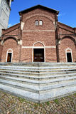 Cardano al campo in    old   church   tower sidewalk italy  lomb Royalty Free Stock Photos