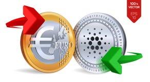 Cardano all'euro cambio Cardano Euro violento a metà contro vecchia priorità bassa Cryptocurrency Monete dorate e d'argento con C Fotografia Stock