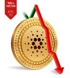 Cardano Caída Flecha roja abajo El grado del índice de Cardano va abajo en mercado de intercambio Moneda Crypto moneda de oro fís Fotografía de archivo libre de regalías